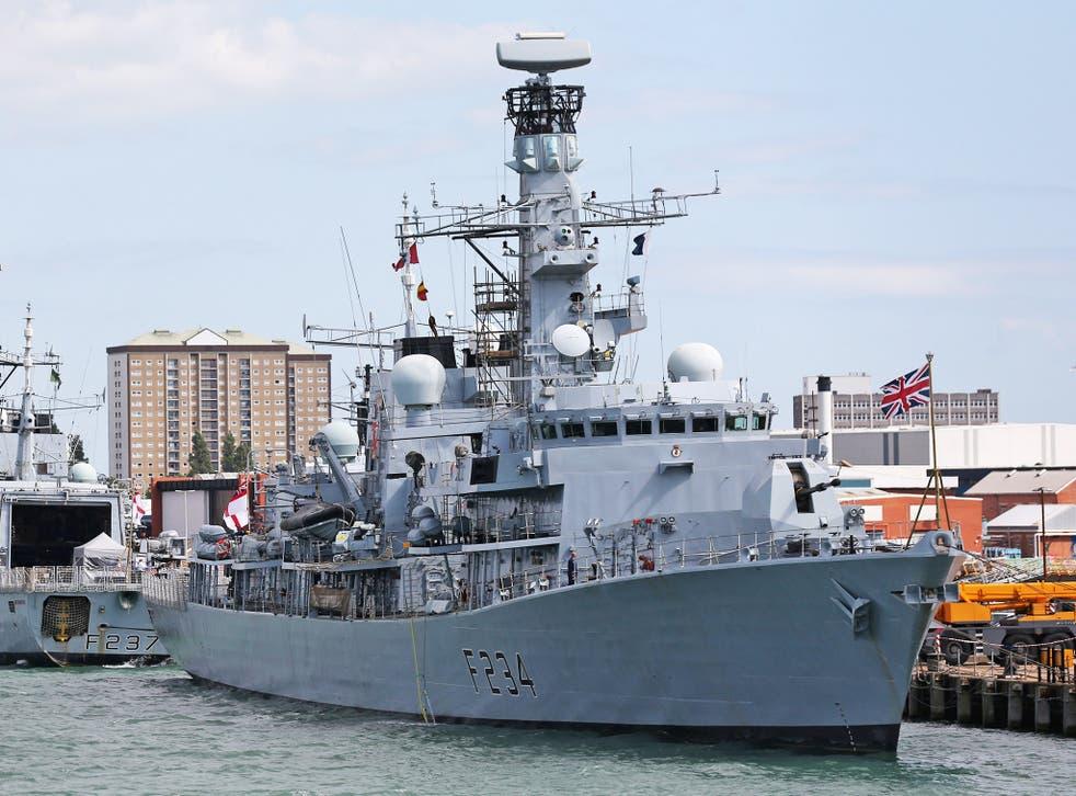 HMS Iron Duke, moored in Portsmouth Naval Base