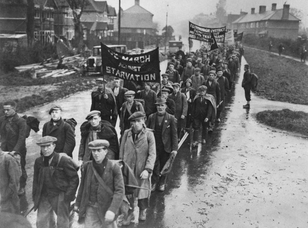 One of Britain's earlier financial crises: a march by the umemployed in the 1930s