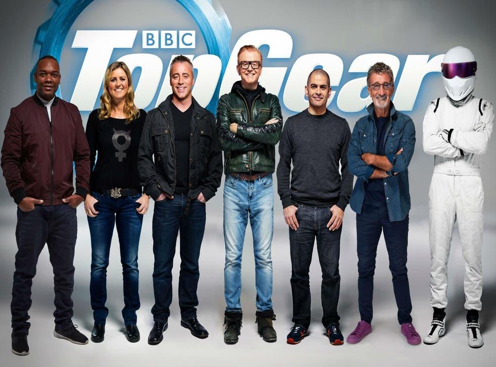 From right to left: Reid, Schmitz, Le Blanc, Evans, Harris, Jordan and The Stig