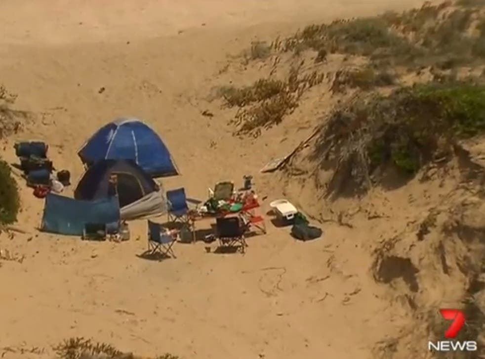 The women set up camp on a remote beach in Salt Creek