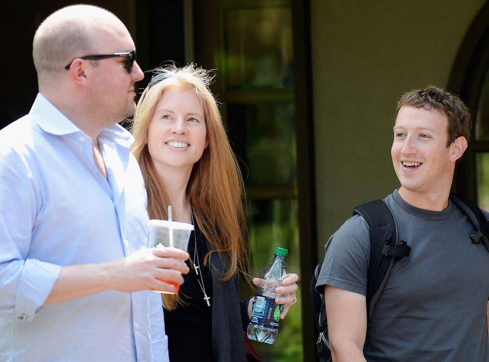 Facebook board member Marc Andreessen (far left), his wife the philanthropist and entrepreneur Laura Arrillaga-Andreessen, and Facebook CEO Mark Zuckerberg, at a 2012 media conference in Idaho