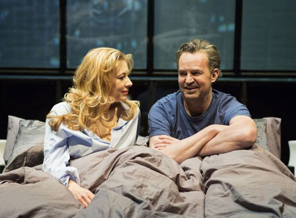 Jennifer Mudge and Matthew Perry in 'The End Of Longing' at the Playhouse Theatre