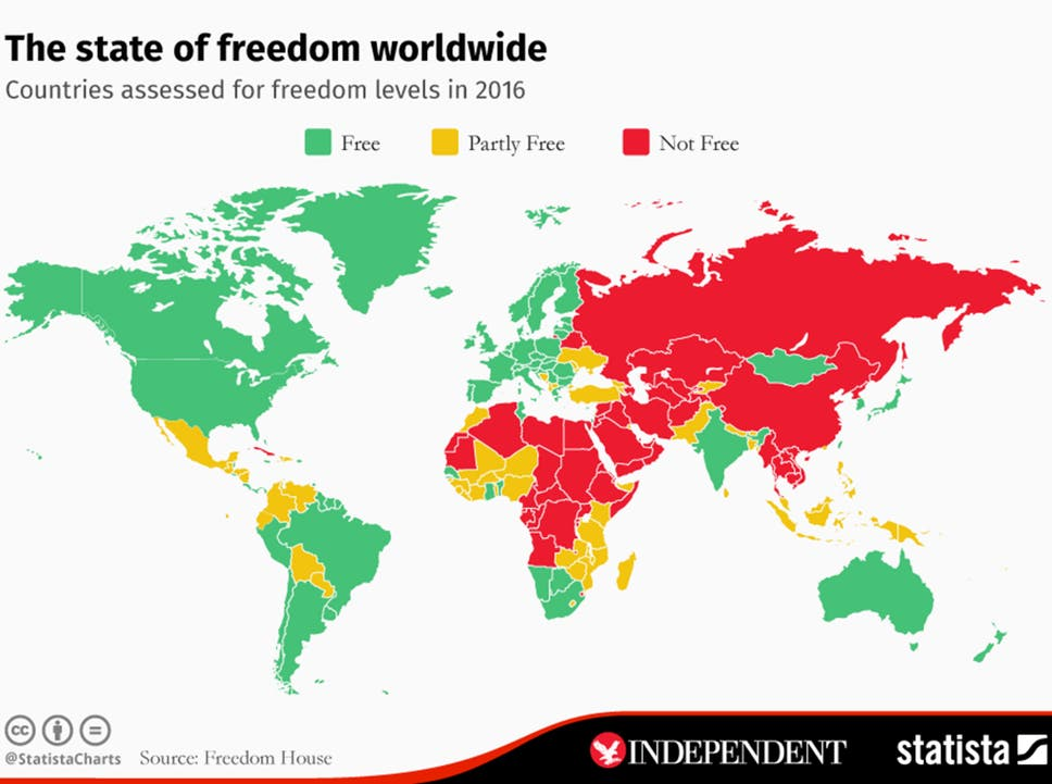 The map that shows most and least free countries in the world | The ...