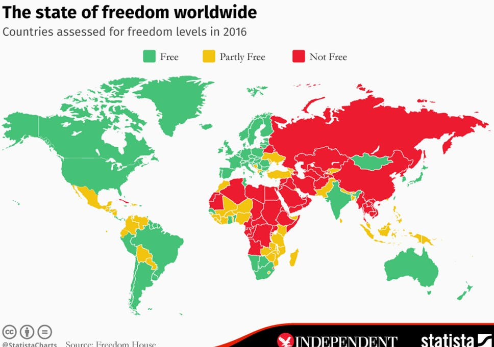 Free Map Of The World Showing Countries.The Map That Shows Most And Least Free Countries In The World The