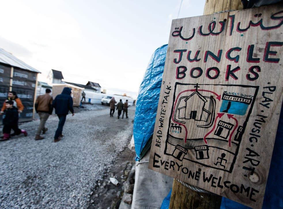 A makeshift bookshop in the Calais Jungle