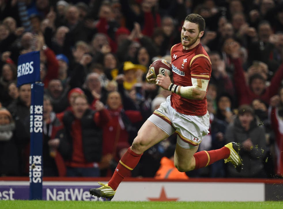 George North scores the match-winning try for Wales against Scotland