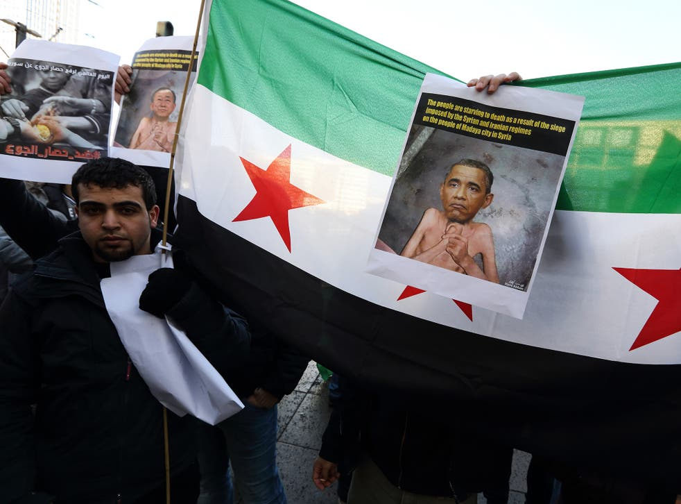 Syrians rallied in Berlin to urge Obama and the international community to save the Syrian town of Madaya from hunger caused by the siege of the Assad regime