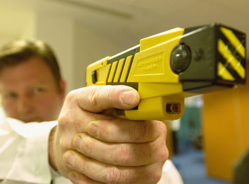 Tasers fire two darts, and temporarily disable their targets with a five-second discharge of 50,000 volts