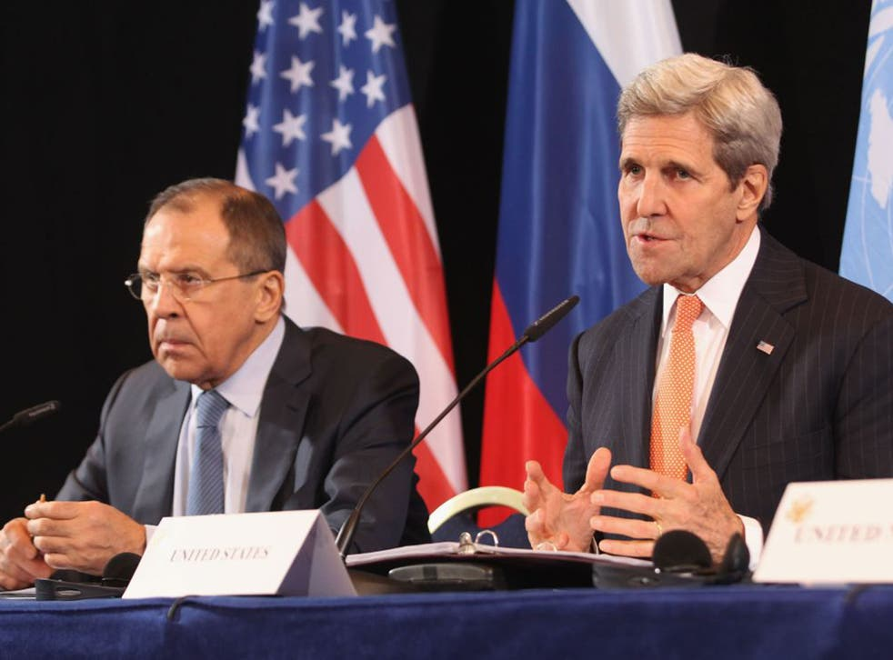 Russia's Sergei Lavrov, left, and the US's John Kerry on Thursday