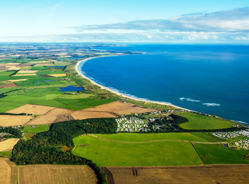 Druridge Bay Northumberland looking north from Cresswell.