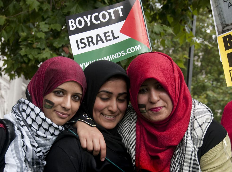 Protesters in London calling for a boycott of Israeli goods