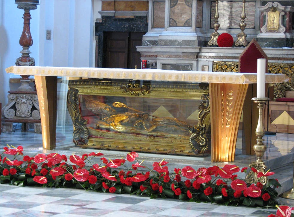The remains of St Valentine in a glass coffin in Treni, central Italy