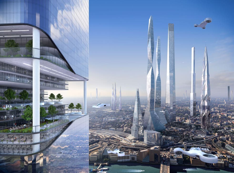 A possible London skyline in 2116 from the SmartThings report