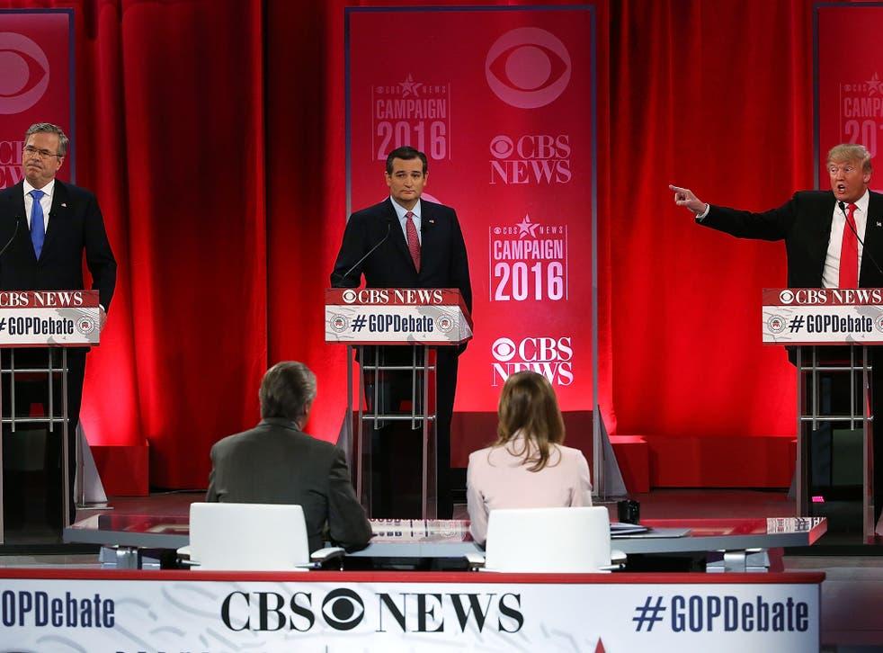 Republican presidential candidates Jeb Bush, Sen. Ted Cruz and Donald Trump participate in a CBS News GOP Debate