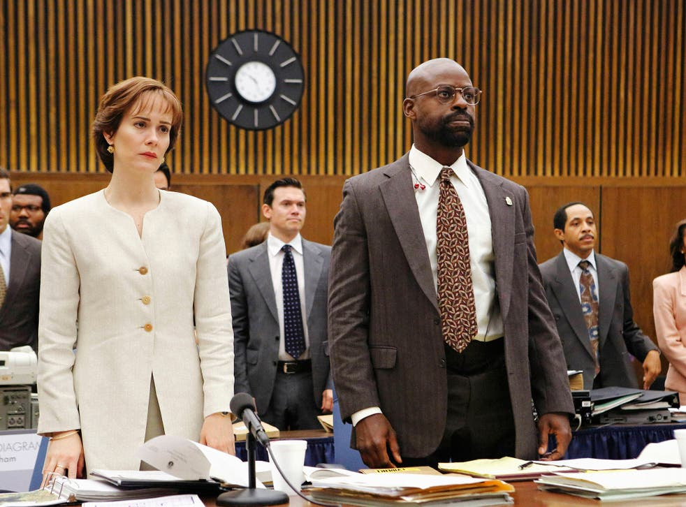 Sarah Paulson as Marcia Clark and Sterling K Brown as her fellow prosecutor Chris Darden in The People vs OJ Simpson
