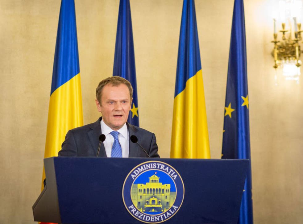 European Council President Donald Tusk was speaking in Bucharest, in Romania for talks with the President Klaus Iohannis