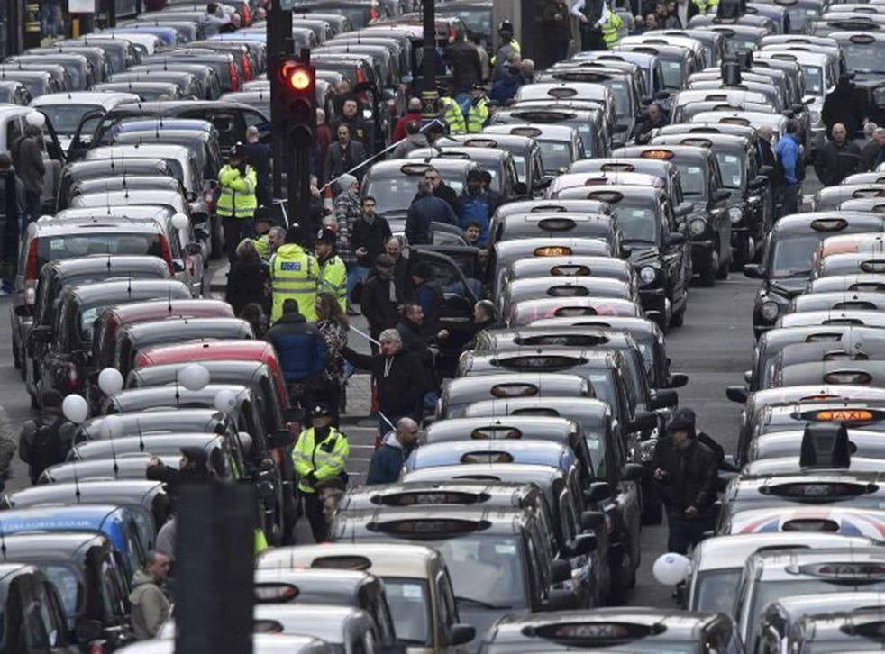 Cab drivers protest against Uber in central London last week