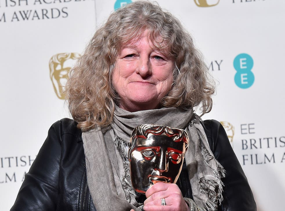 Jenny Beavan poses with the Best Costume Design Award for 'Mad Max: Fury Road' in the winners room at the EE British Academy Film Awards at the Royal Opera House on 14 February, 2016