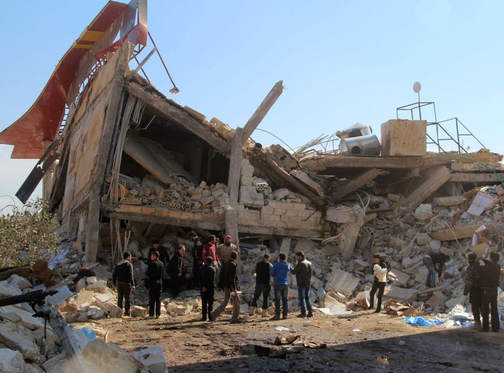 The rubble of a hospital destroyed in Syria's northern province of Idlib in suspected Russian air strikes