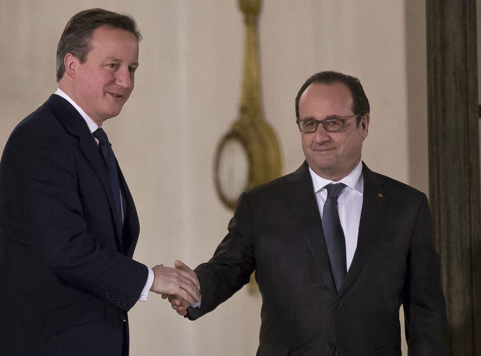 Downing Street said Mr Cameron and Mr Hollande had made 'good progress'