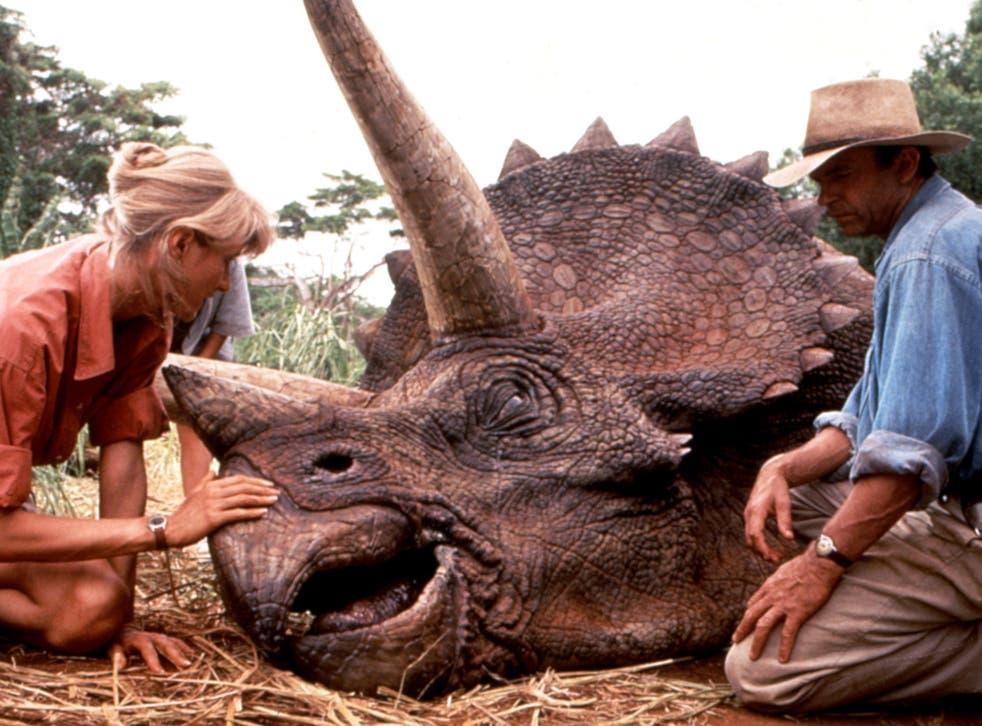 'Jurassic Park', Laura Dern, Sam Neill, with triceratops