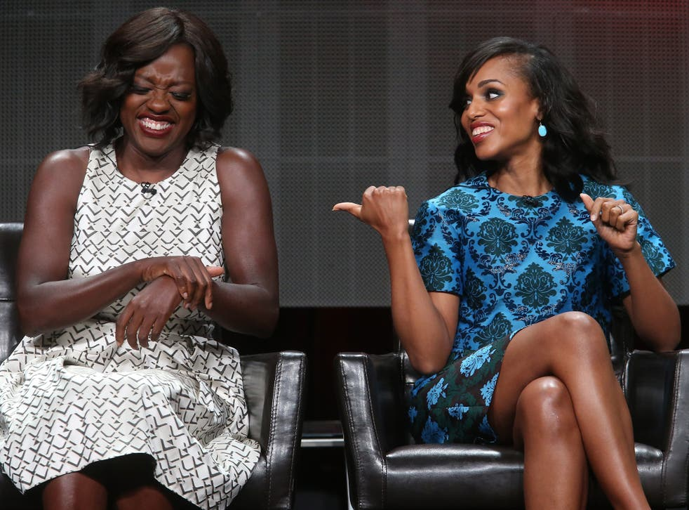 Actresses Viola Davis (L) and Kerry Washington speak onstage during the 'Grey's Anatomy,' 'Scandal,' and 'How To Get Away With Murder' panel discussion