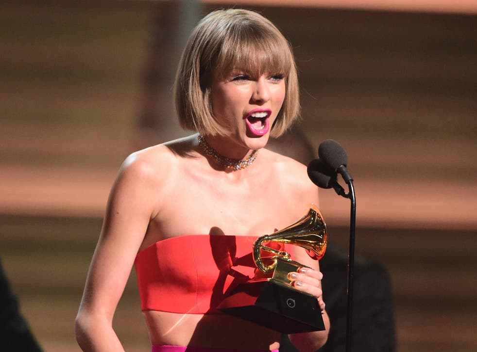 Taylor Swift addressing a misogynistic lyric written about her by Kanye West at the Grammys