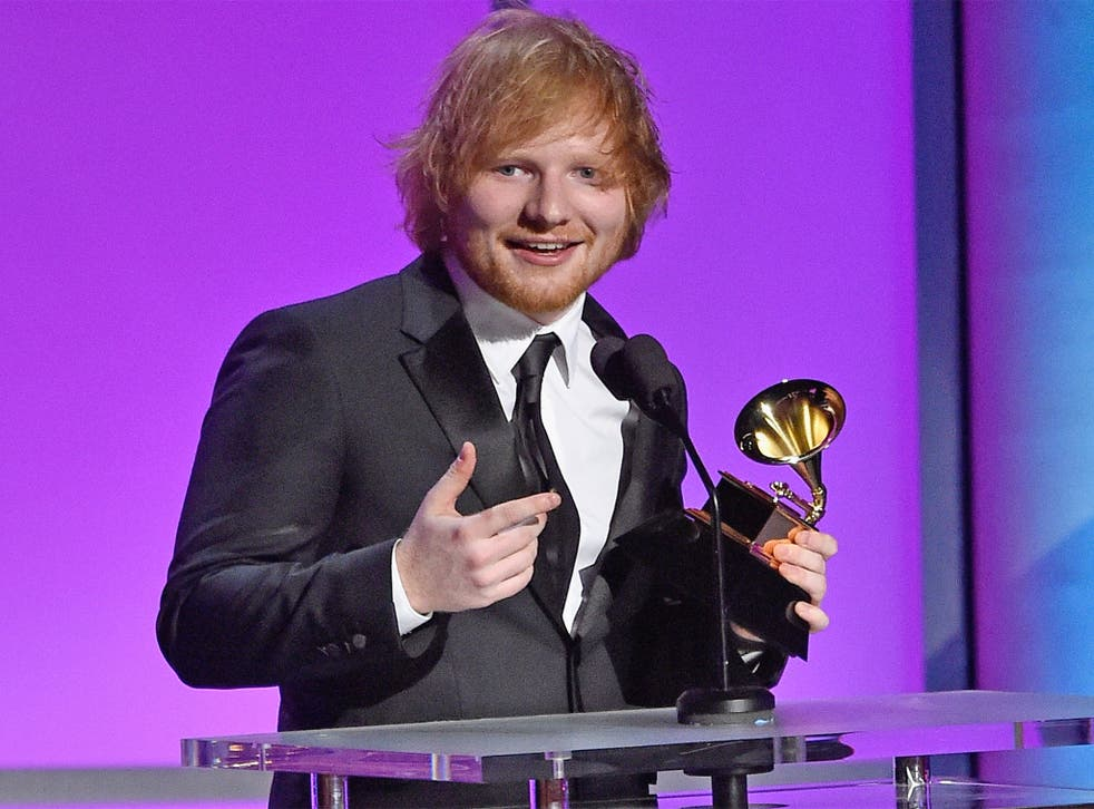 """Ed Sheeran receives the gong for Best Pop Solo Performance, for """"Thinking Out Loud,"""" at the Grammys on Monday night"""