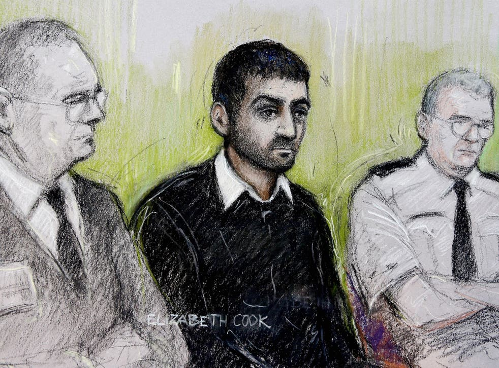 Court sketch of Erol Incedal (centre), a London law student who was the defendant in a secret terror trial