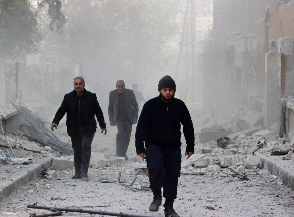 The aftermath of Russian bombing in Aleppo