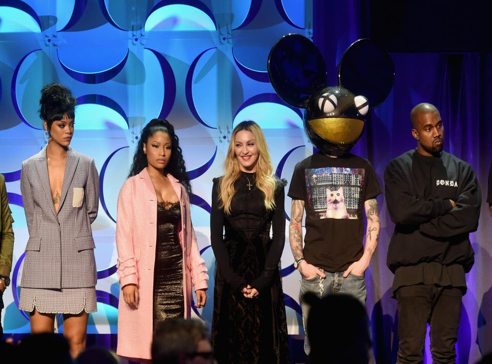 Rihanna, Nicki Minaj, Madonna, Deadmau5, and Kanye West onstage at the Tidal launch event in March 2015