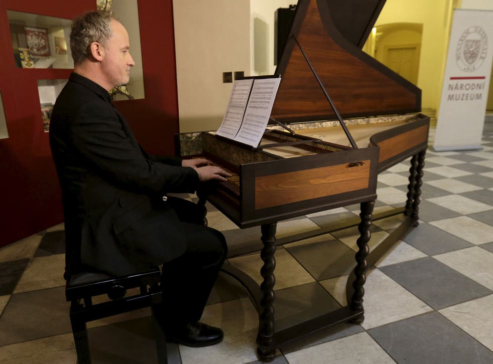 Musician Lukas Vendl plays a recently discovered music manuscript composed by Wolfgang Amadeus Mozart and Antonio Salieri in Prague, Czech Republic, 16 February, 2016