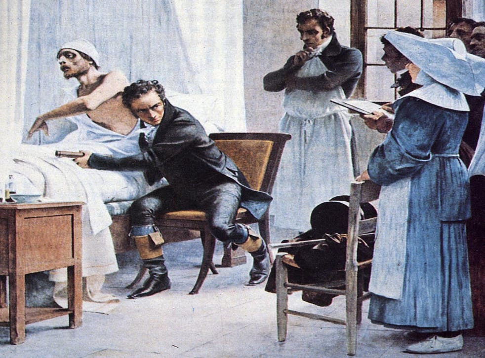 """Dr Laennec examines a consumptive patient with a stethoscope in front of his students at the Necker Hospital"""