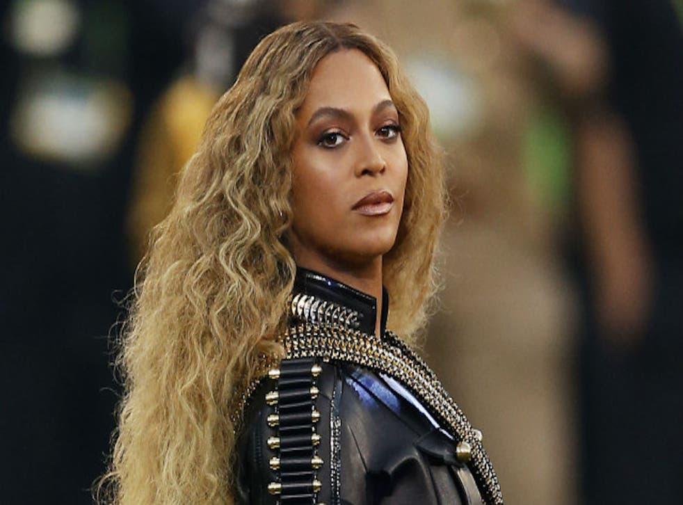 Beyoncé performs at the Super Bowl 50 halftime show.