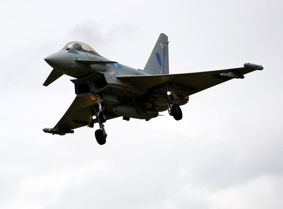 A Typhoon aircraft comes in to land