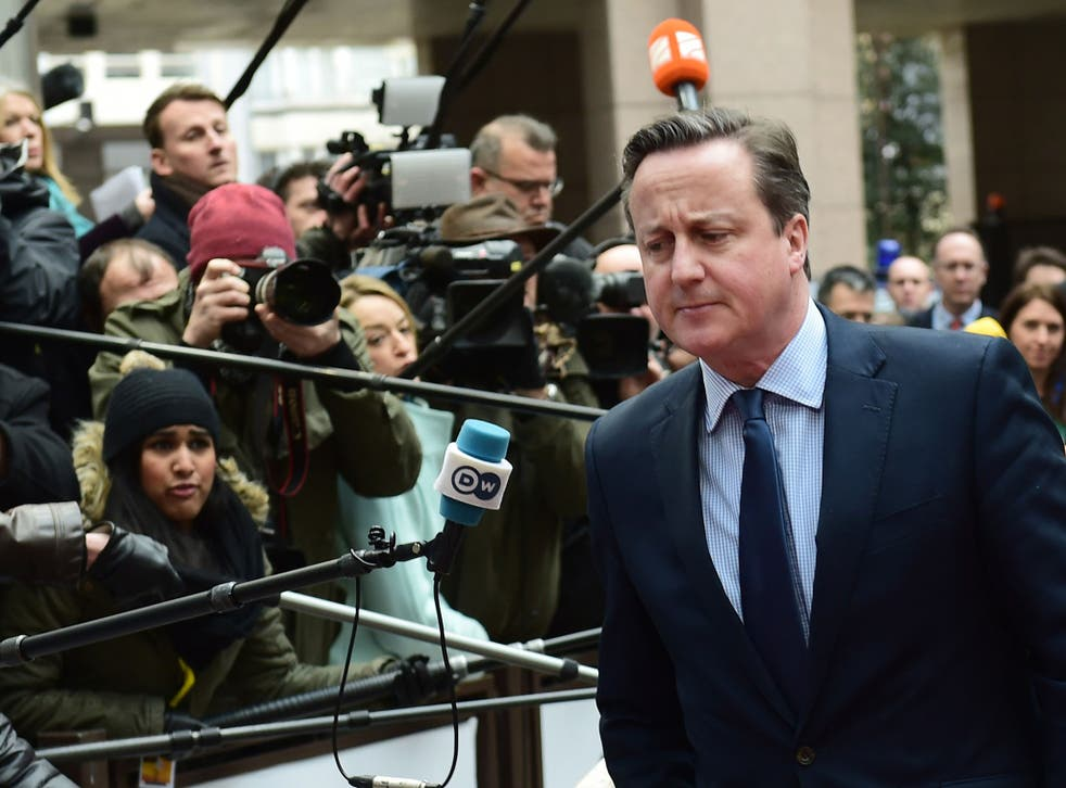 Britain's Prime Minister David Cameron arrives for an EU summit meeting, at the European Union headquarters in Brussels