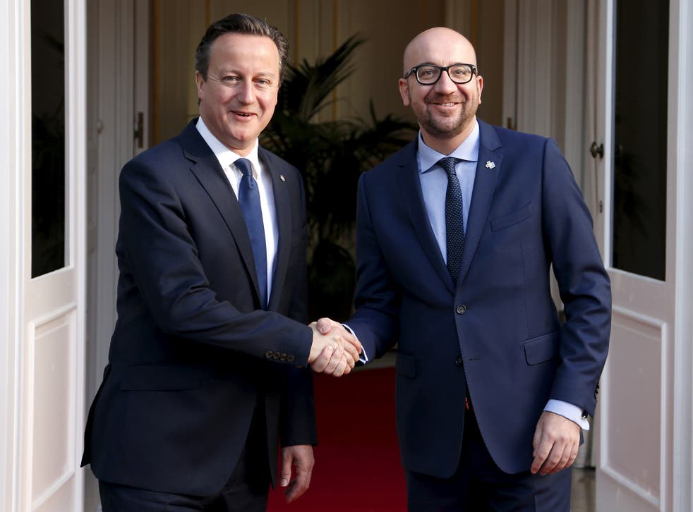 David Cameron with his Belgian counterpart Charles Michel