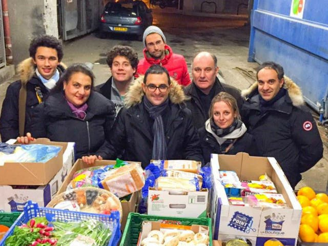 The author with friends and volunteers with saved supermarket food in Courbevoie