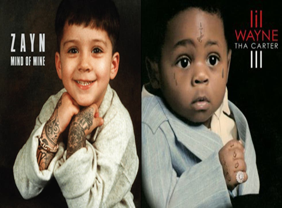Mind of Mine by Zayn Malik and Tha Carter III by Lil Wayne both feature the artists as tattooed babies