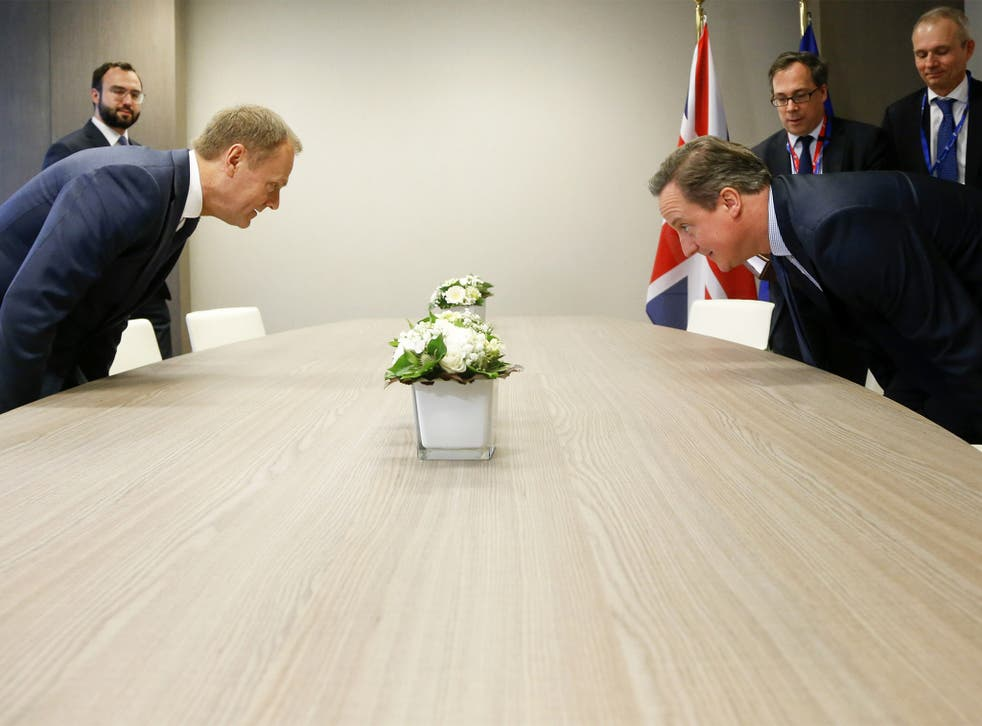 David Cameron and the European Council President Donald Tusk get down to business in Brussels