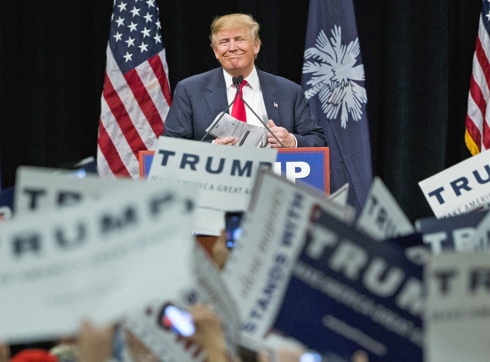 Republican presidential candidate Donald Trump on the campaign trail in Myrtle Beach