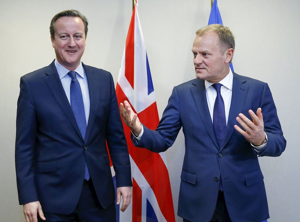 David Cameron with European Council president Donald Tusk this week