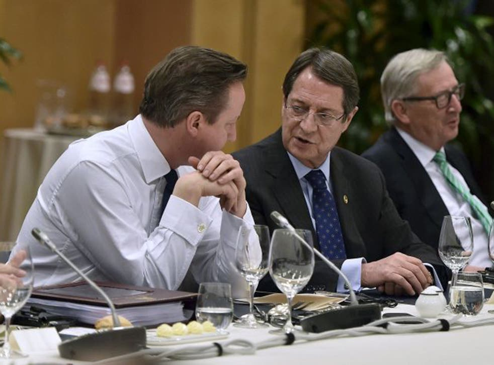 David Cameron in talks at the Brussels summit