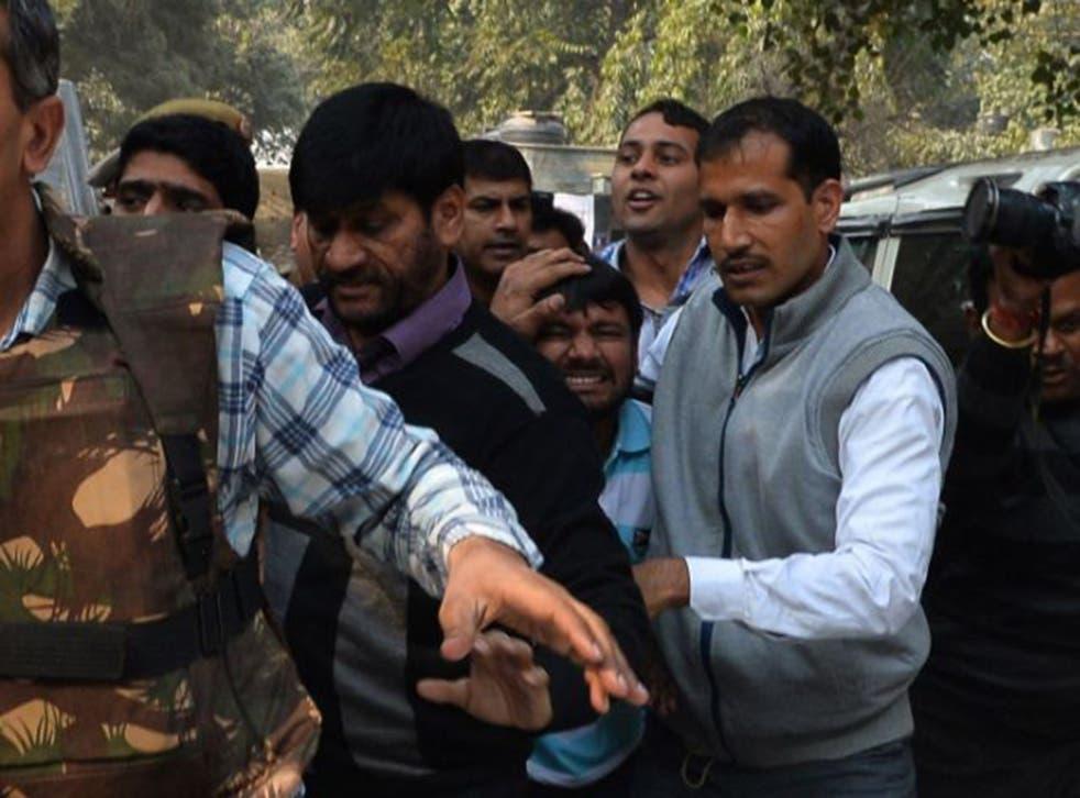 Kanhaiya Kumar, centre, arrives