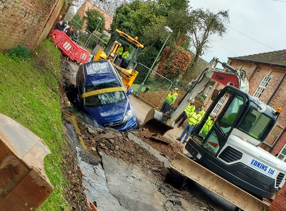 Rising water led to the road collapsing