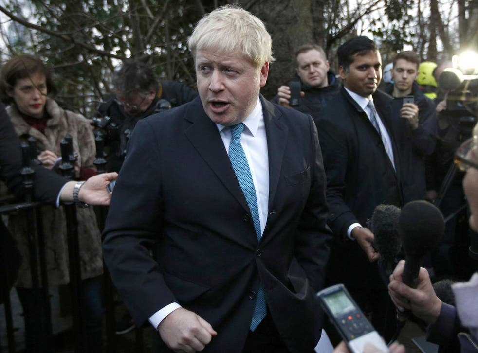 London Mayor Boris Johnson speaks to the media in front of his home in London, Britain February 21, 2016