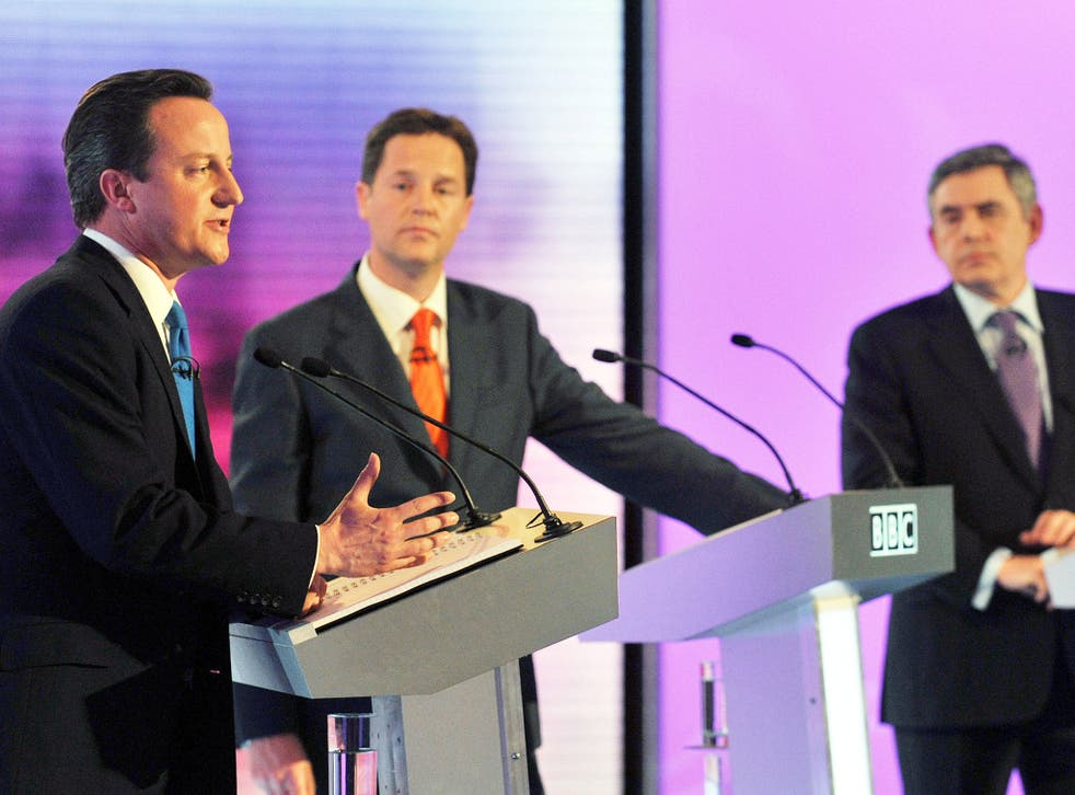 David Cameron, Nick Clegg and Gordon Brown during the BBC TV Debate in 2010
