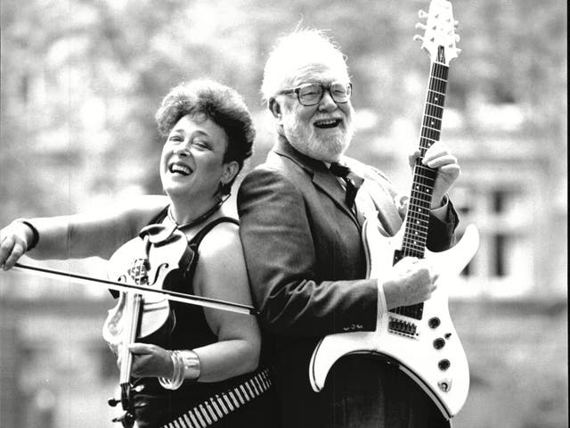 Punk Singer Vi Subversa, left, pictured with conductor Sir Charles Groves for Music Day in 1985