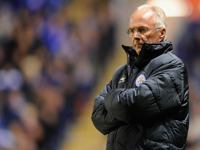 Sven-Göran Eriksson watches on while in charge of Leicester City