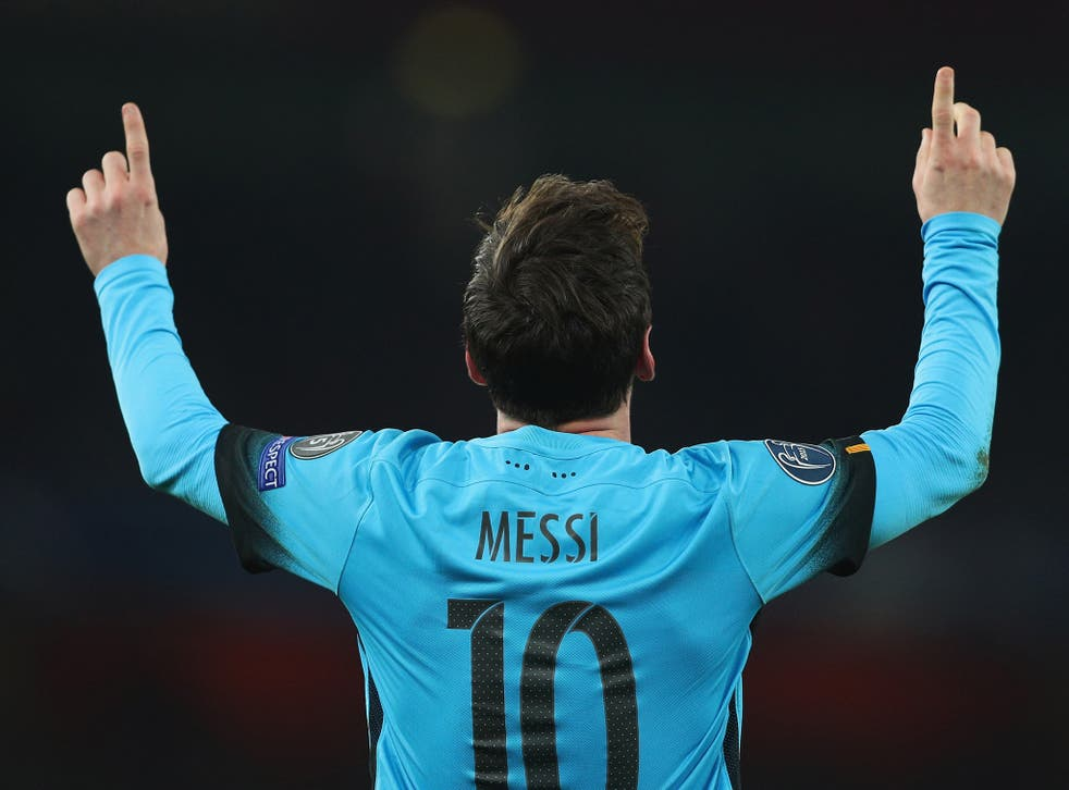 Lionel Messi celebrates his second goal against Arsenal last week